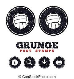 symbole., volley-ball, signe, icon., sport, plage