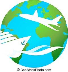 symbole, voyage, bateau, avion, croisière