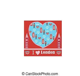symbole, wahrzeichen, london, karte