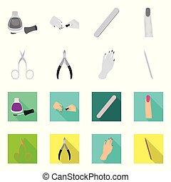 symbole, web., mettez stylique, stockage, maquillage, produits de beauté, logo., vecteur, manucure
