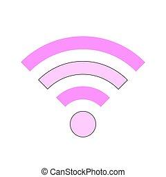 symbole, wi-fi, white., icône