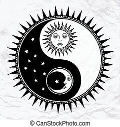 symbole, yang, yin, lune, soleil