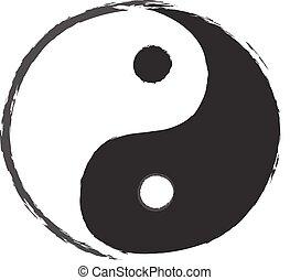 symbole, yin, dessin, yang