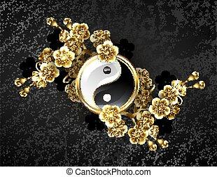 symbole, yin, doré, sakura, yang