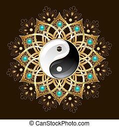 symbole, yin, mandala, yang