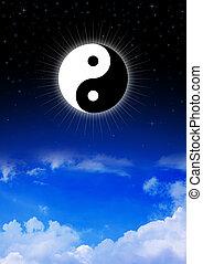 symbole yin yang, de, taoism, sur, ciel nuit