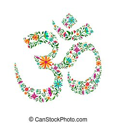 symbole, yoga, fleurs, fait, om