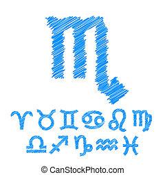 symbole, zodiaque, isolé, blanc, icônes