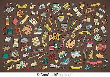 symbolen, ambacht, vector, kunst, voorwerpen