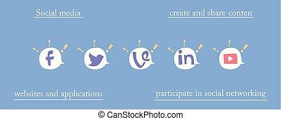 symbolen, ballons, toespraak, netwerk, sociaal