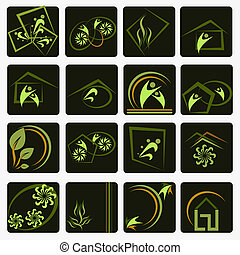 symbolen, bedrijf, set