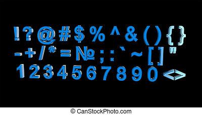 symbolen, blauwe , getallen, &