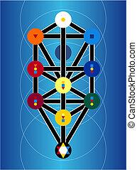 symbolen, cabala, blauwe achtergrond, joodse
