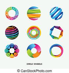 symbolen, cirkel, ontwerp, verzameling