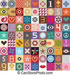 symbolen, collage, abstract