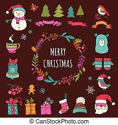 symbolen, communie, iconen, doodle, -, kerstmis, ontwerp, kerstmis