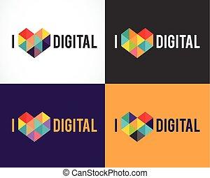 symbolen, communie, kleurrijke, abstract, verzameling, iconen, creatief, mal, digitale , logo