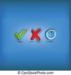 symbolen, controlelijst, -, illustratie, hand, foch, getrokken