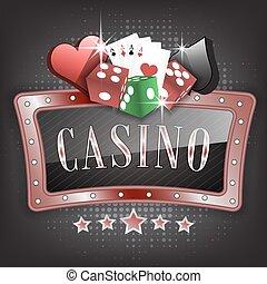 symbolen, dobbelsteen, frame, casino, illustratie, sierlijk, kaarten, speelkaart