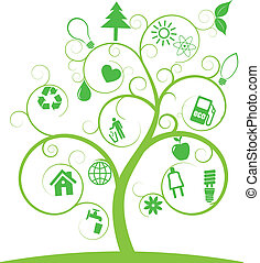 symbolen, ecologie, boompje, spiraal