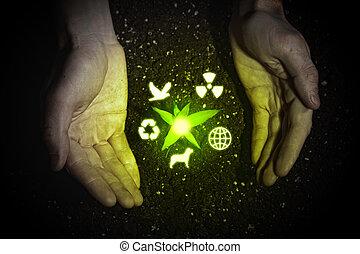 symbolen, ecologie, menselijke handen