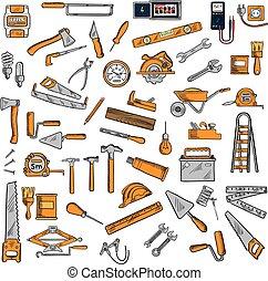 symbolen, equipments, schets, gereedschap, hand