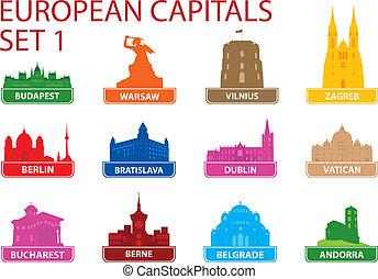 symbolen, europeaan, hoofdstad