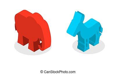 symbolen, ezel, verenigd, usa, politiek, republicans., tegen, verkiezingen, staten, amerikaan, isometrics., democraten, elefant, partij.