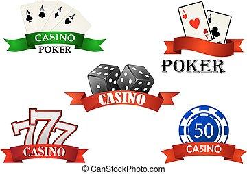 symbolen, geluksspelletjes, emblems, casino, of
