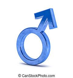 symbolen, geslacht, man., 3d