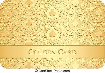 symbolen, gouden, ornament, kaart