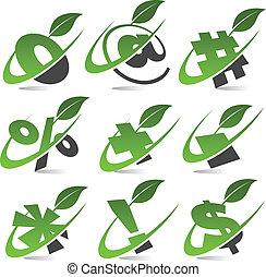 symbolen, groene, set, 5, swoosh