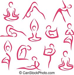 symbolen, groot, set, yoga