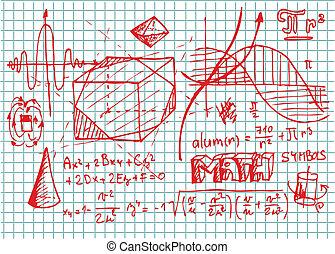 symbolen, hand, getrokken, wiskunde
