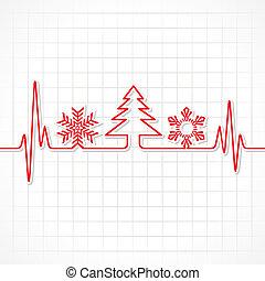 symbolen, hartslag, maken, kerstmis, st