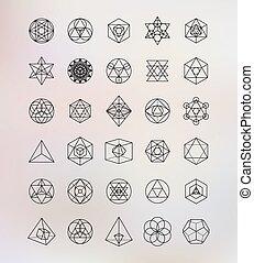 symbolen, heilig, geometry., alchimie, hipster