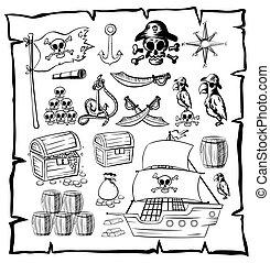symbolen, kaart, zeerover