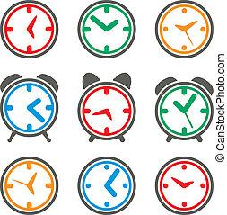 symbolen, kleurrijke, vector, klok