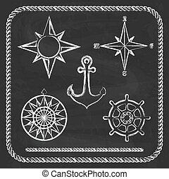 symbolen, -, kompas, tv nieuws , nautisch