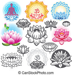 symbolen, lotuses, set, esoterisch