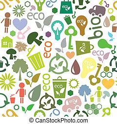 symbolen, model, ecologisch, gekleurde, seamless