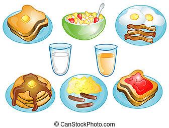 symbolen, ontbijt, of, voedsel, iconen