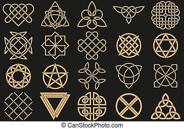 symbolen, oud, set