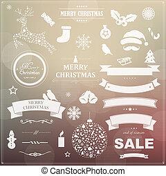 symbolen, ouderwetse , set, linten, kerstmis