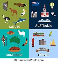 symbolen, plat, reizen, australië, iconen