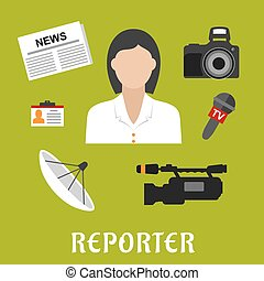 symbolen, plat, reporter, beroep, iconen
