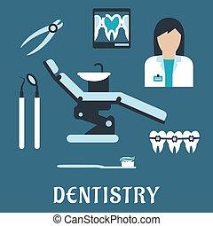 symbolen, plat, tandarts, beroep, iconen
