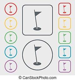 symbolen, plein, frame., symbool., meldingsbord, knopen, vlag, vector, gat, sportende, icon., ronde