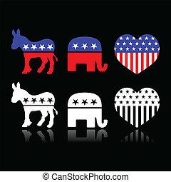 symbolen, politiek, usa, partijen