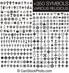 symbolen, religieus, gevarieerd, 350